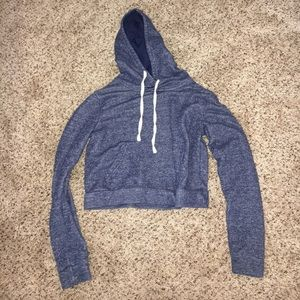 FOREVER 21 BLUE CROPPED HOODIE
